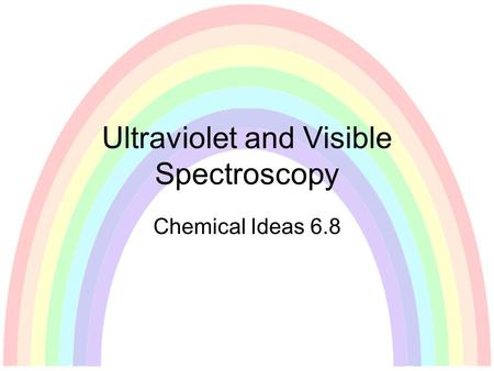 Ultraviolet and Visible Spectroscopy Chemical Ideas 6.8.
