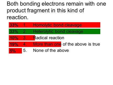 Both bonding electrons remain with one product fragment in this kind of reaction. 1.Homolytic bond cleavage 2.Heterolytic bond cleavage 3.Radical reaction.