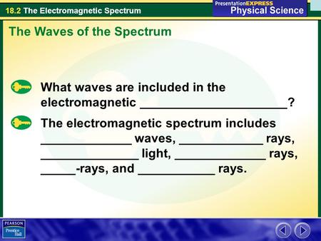 18.2 The Electromagnetic Spectrum The Waves of the Spectrum What waves are included in the electromagnetic _____________________? The electromagnetic spectrum.