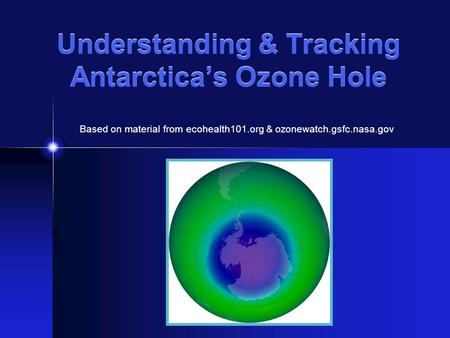 Understanding & Tracking Antarctica's Ozone Hole Based on material from ecohealth101.org & ozonewatch.gsfc.nasa.gov.