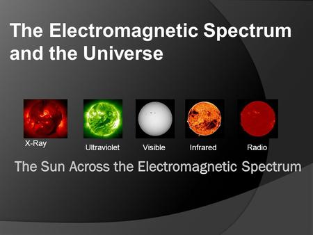 X-Ray UltravioletVisibleInfraredRadio The Electromagnetic Spectrum and the Universe.