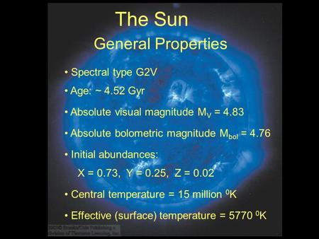 General Properties Absolute visual magnitude M V = 4.83 Central temperature = 15 million 0 K X = 0.73, Y = 0.25, Z = 0.02 Initial abundances: Age: ~ 4.52.