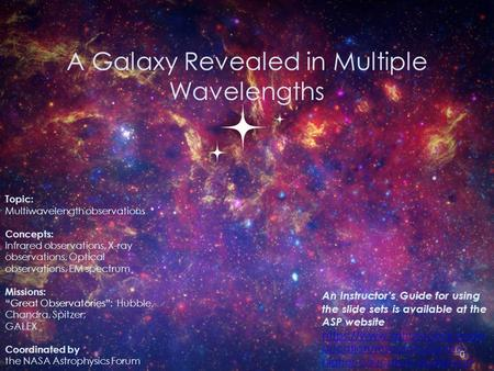 A Galaxy Revealed in Multiple Wavelengths 0 Topic: Multiwavelength observations Concepts: Infrared observations, X-ray observations, Optical observations,