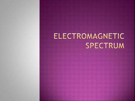 Electromagnetic Radiation-transverse energy waves produced by electrically charged particles.  Has the properties of both waves and particles.  These.