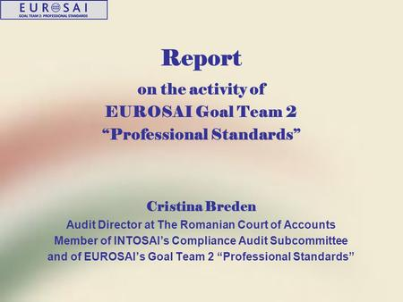 "Report on the activity of EUROSAI Goal Team 2 ""Professional Standards"" Cristina Breden Audit Director at The Romanian Court of Accounts Member of INTOSAI's."