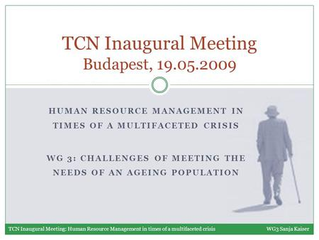 HUMAN RESOURCE MANAGEMENT IN TIMES OF A MULTIFACETED CRISIS WG 3: CHALLENGES OF MEETING THE NEEDS OF AN AGEING POPULATION TCN Inaugural Meeting Budapest,