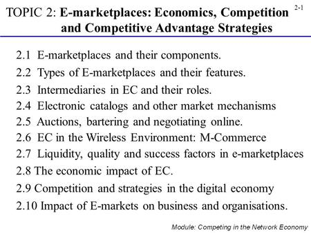 2.1  E-marketplaces and their components.