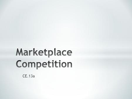 Marketplace Competition