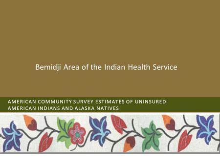 AMERICAN COMMUNITY SURVEY ESTIMATES OF UNINSURED AMERICAN INDIANS AND ALASKA NATIVES Bemidji Area of the Indian Health Service.