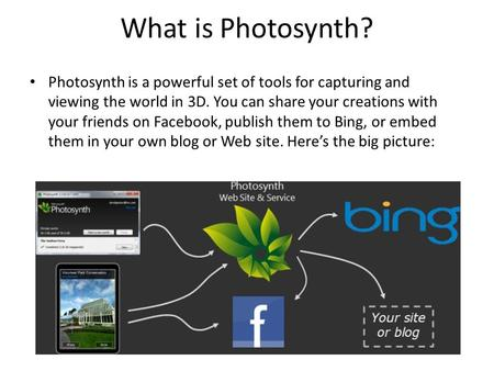 What is Photosynth? Photosynth is a powerful set of tools for capturing and viewing the world in 3D. You can share your creations with your friends on.