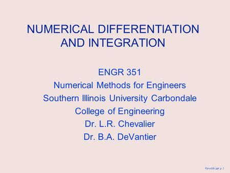 NUMERICAL DIFFERENTIATION AND INTEGRATION