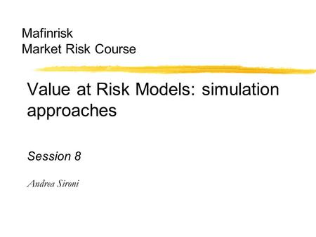 Mafinrisk Market Risk Course