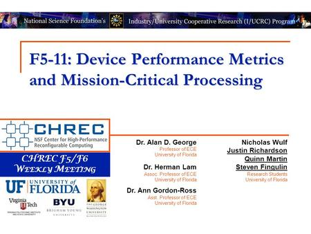 CHREC F5/F6 W EEKLY M EETING F5-11: Device Performance Metrics and Mission-Critical Processing Nicholas Wulf Justin Richardson Quinn Martin Steven Fingulin.