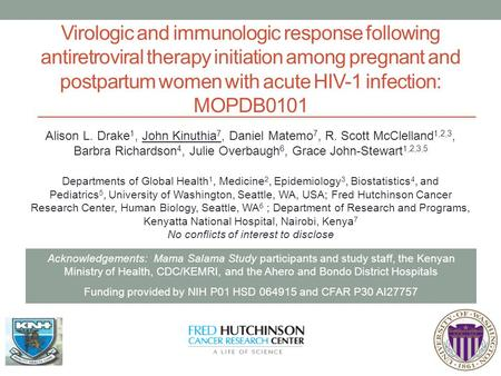 Virologic and immunologic response following antiretroviral therapy initiation among pregnant and postpartum women with acute HIV-1 infection: MOPDB0101.