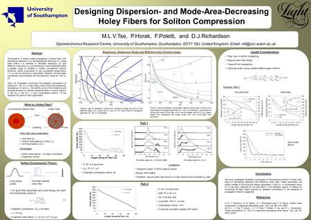 Designing Dispersion- and Mode-Area-Decreasing Holey Fibers for Soliton Compression M.L.V.Tse, P.Horak, F.Poletti, and D.J.Richardson Optoelectronics Research.