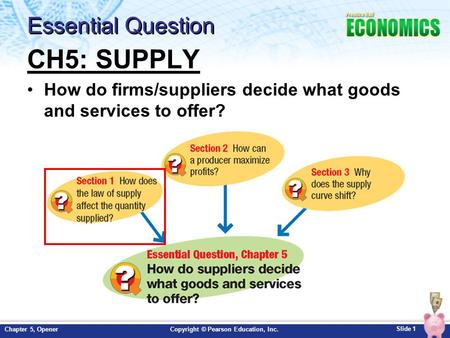 Slide 1 Copyright © Pearson Education, Inc.Chapter 5, Opener Essential Question CH5: SUPPLY How do firms/suppliers decide what goods and services to offer?