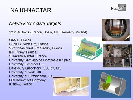 N Network for Active Targets 12 institutions (France, Spain, UK, Germany, Poland) GANIL, France CENBG Bordeaux, France SPhN/DAPNIA/DSM Saclay, France IPN.