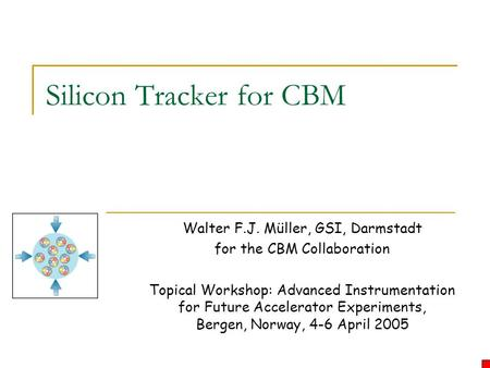 Silicon Tracker for CBM Walter F.J. Müller, GSI, Darmstadt for the CBM Collaboration Topical Workshop: Advanced Instrumentation for Future Accelerator.