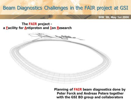 BIW `06, May 1st 2006 Beam Diagnostics Challenges in the FAIR project at GSI The FAIR project - a Facility for Antiproton and Ion Research Planning of.