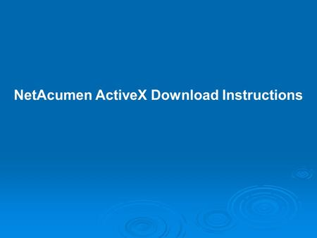 NetAcumen ActiveX Download Instructions