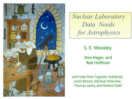Nuclear Laboratory Data Needs for Astrophysics S. E. Woosley, Alex Heger, and Rob Hoffman with help from Tuguldur Sukhbold, Justin Brown, Michael Wiescher,