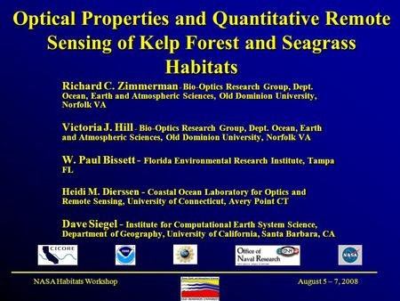 August 5 – 7, 2008NASA Habitats Workshop Optical Properties and Quantitative Remote Sensing of Kelp Forest and Seagrass Habitats Richard C. Zimmerman -
