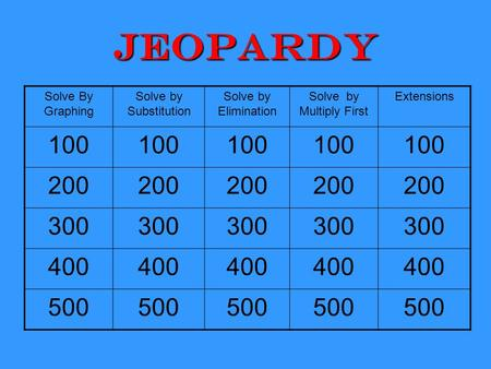 Jeopardy Solve By Graphing Solve by Substitution Solve by Elimination Solve by Multiply First Extensions 100 200 300 400 500.