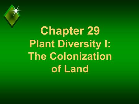 Chapter 29 Plant Diversity I: The Colonization of Land.