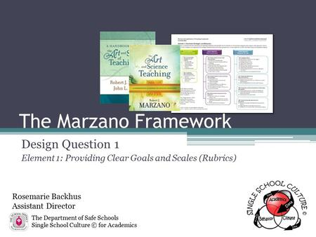 The Marzano Framework Design Question 1