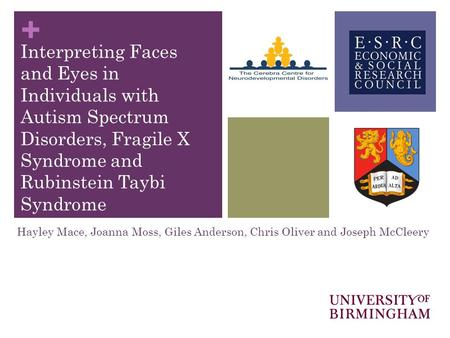 + Interpreting Faces and Eyes in Individuals with Autism Spectrum Disorders, Fragile X Syndrome and Rubinstein Taybi Syndrome Hayley Mace, Joanna Moss,