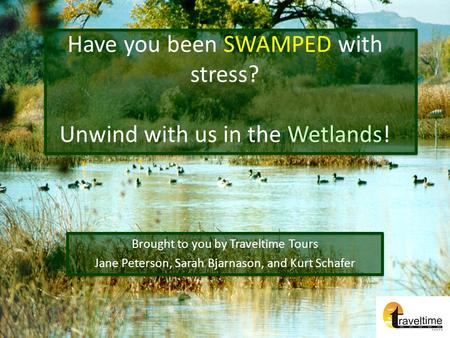Have you been SWAMPED with stress? Unwind with us in the Wetlands! Brought to you by Traveltime Tours Jane Peterson, Sarah Bjarnason, and Kurt Schafer.