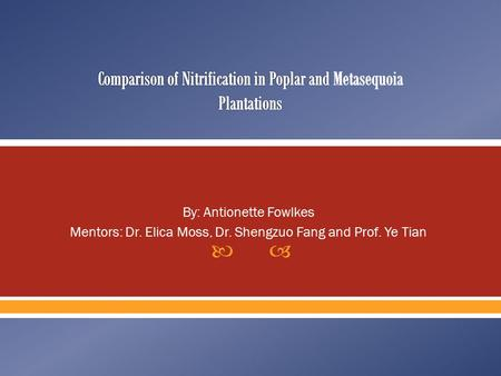  By: Antionette Fowlkes Mentors: Dr. Elica Moss, Dr. Shengzuo Fang and Prof. Ye Tian.