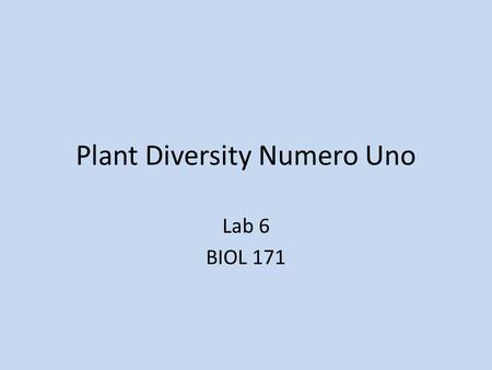 Plant Diversity Numero Uno Lab 6 BIOL 171. Introduction First land plants were related to green algae – 500 million years ago.