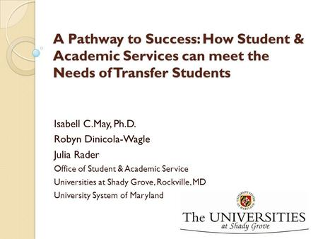 A Pathway to Success: How Student & Academic Services can meet the Needs of Transfer Students Isabell C.May, Ph.D. Robyn Dinicola-Wagle Julia Rader Office.