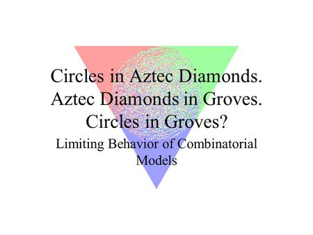 Circles in Aztec Diamonds. Aztec Diamonds in Groves. Circles in Groves? Limiting Behavior of Combinatorial Models.