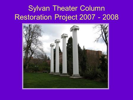 Sylvan Theater Column Restoration Project 2007 - 2008.
