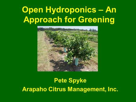 Open Hydroponics – An Approach for Greening Pete Spyke Arapaho Citrus Management, Inc.