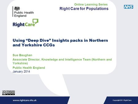 "Copyright 2011 Right Care Using ""Deep Dive"" Insights packs in Northern and Yorkshire CCGs Sue Baughan Associate Director, Knowledge and Intelligence Team."