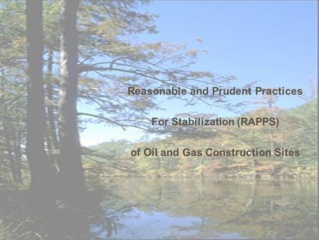 Reasonable and Prudent Practices For Stabilization (RAPPS) of Oil and Gas Construction Sites.