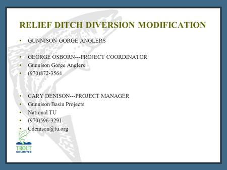 RELIEF DITCH DIVERSION MODIFICATION GUNNISON GORGE ANGLERS GEORGE OSBORN---PROJECT COORDINATOR Gunnison Gorge Anglers (970)872-3564 CARY DENISON---PROJECT.