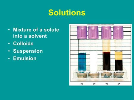 Solutions Mixture of a solute into a solvent Colloids Suspension Emulsion.