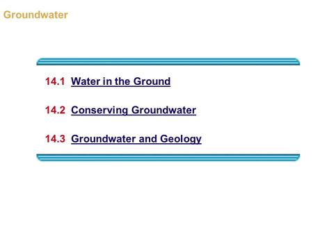 Groundwater 14.1  Water in the Ground 14.2  Conserving Groundwater