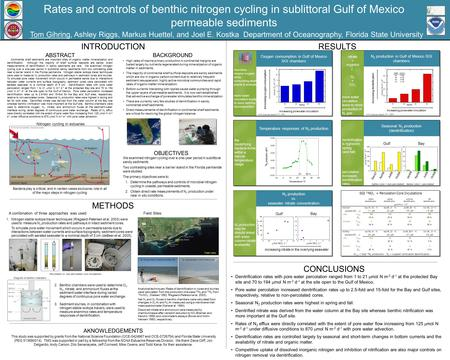 Rates and controls of benthic nitrogen cycling in sublittoral Gulf of Mexico permeable sediments Tom Gihring, Ashley Riggs, Markus Huettel, and Joel E.