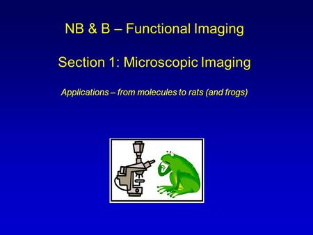 NB & B – Functional Imaging Section 1: Microscopic Imaging Applications – from molecules to rats (and frogs)