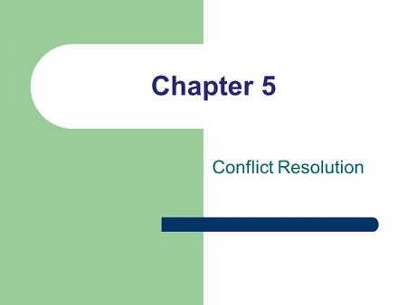 Chapter 5 Conflict Resolution. Conflict Important Conflict is the internal or external tension that occurs when you anticipate difficulty meeting important.