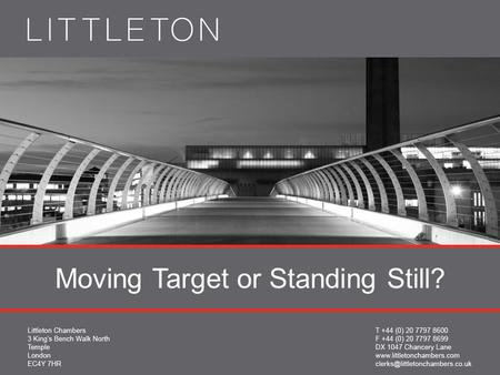 Moving Target or Standing Still?. Damian Brown QC 16 th January 2013 TUPE obligations: dynamic or static?
