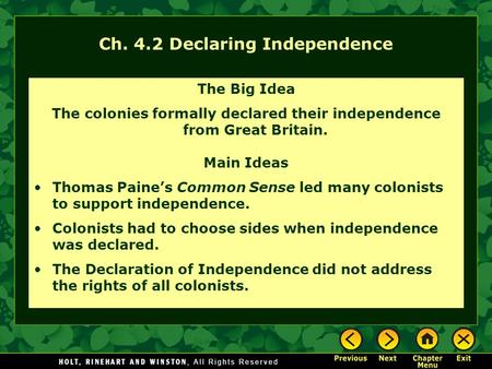 Ch. 4.2 Declaring Independence