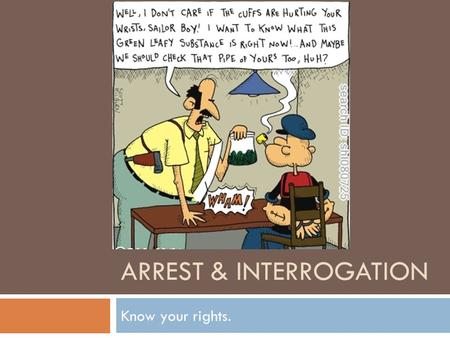 ARREST & INTERROGATION Know your rights.. Review from Boring Thursday  Sources of law: statutes.  Sources of law: judge made law.  Judges write opinions.