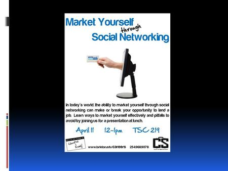 Market Yourself Through Social Networking Aiding in your job search…  ALWAYS use  Good ole fashioned networking  A well prepared resume  CONSIDER.
