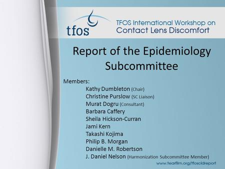 Report of the Epidemiology Subcommittee Members: Kathy Dumbleton (Chair) Christine Purslow (SC Liaison) Murat Dogru (Consultant) Barbara Caffery Sheila.
